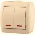 Выключатель двухклавишный с подсветкой о/п
