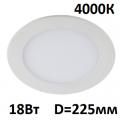 Светильник встраиваемый точечный панель LED 18 Вт 225 мм 4000 K
