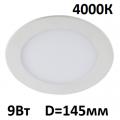 Светильник встраиваемый точечный панель LED 9 Вт 145 мм 4000 K