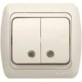 Выключатель двухклавишный с подсветкой с/п